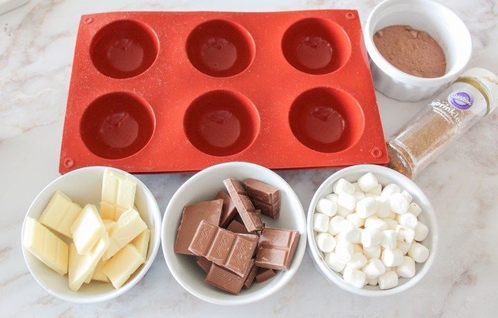 ingredients & tools for hot chocolate bombs