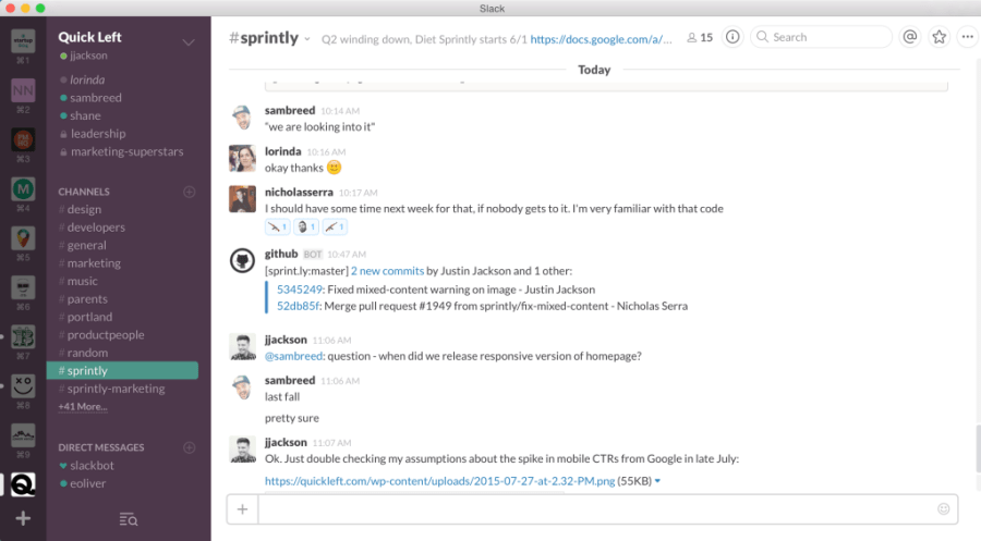 Slack chat, multiple teams