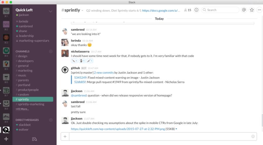 Slack chat, multiple teams