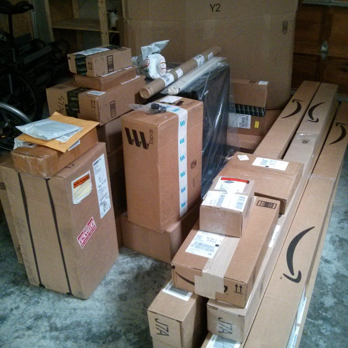 Pile o' packages ready to install on the van