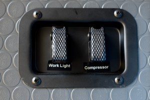 Carbon fiber switch covers in recessed metal plate (need to stick the labels on straighter!)