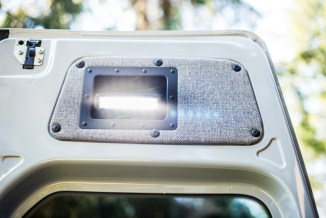 LED work lights in top panels of rear doors