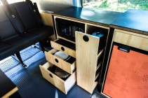 """Microwave cabinet with storage below and """"pantry"""" pull-out"""