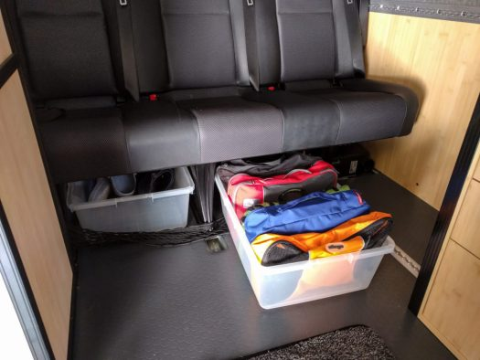 Packing cubes in tub under bench seat