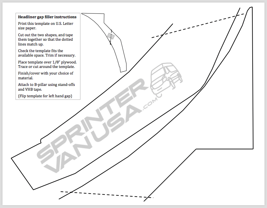 Template for filler piece at rear of cab headliner