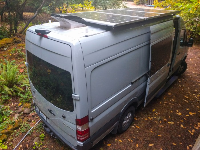 Solar panels on the van roof