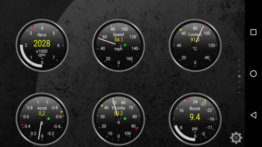 The default gauge design in Torque Pro