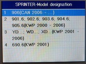 Choosing the vehicle type on the MD802