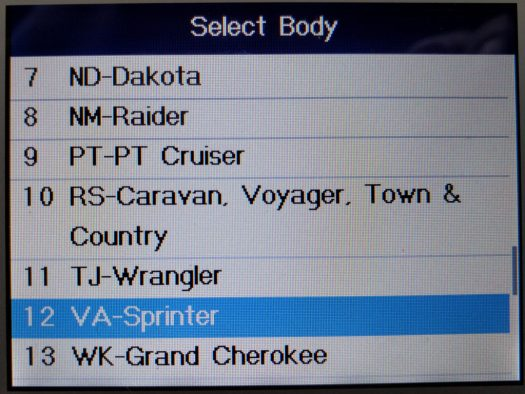 Finding the older model Sprinters on the MD802 OBDII reader