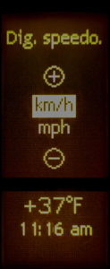 Select MPH or km/h for the secondary dash display