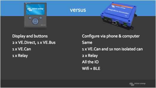 Venus GX prototype comparison to CCGX