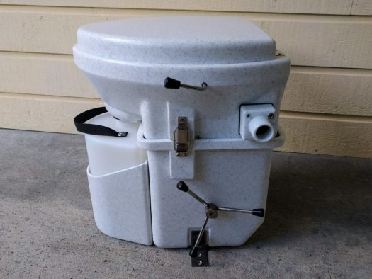 Nature's Head toilet with Spider cranking handle for tight spaces