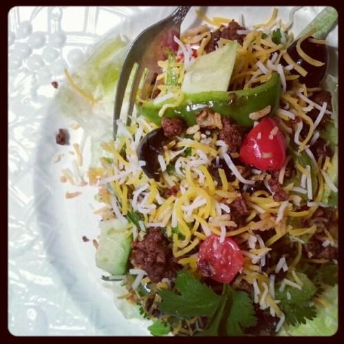 Taco salad, minus the tortilla chips. #mamavation