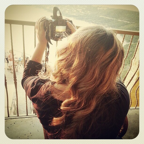 A curl of a girl ... and her camera.  #grace #happybirthday
