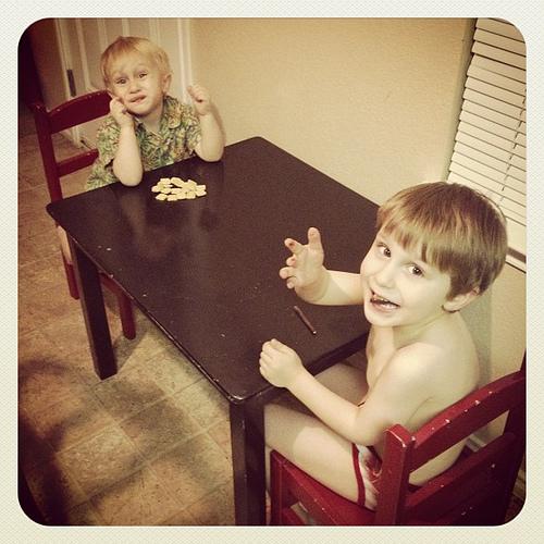 Preschool Table in the Kitchen. #bigboys #preschoolies #munchkins #learningspaces #kitchen