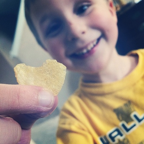 He found a heart shaped chip! ❤️