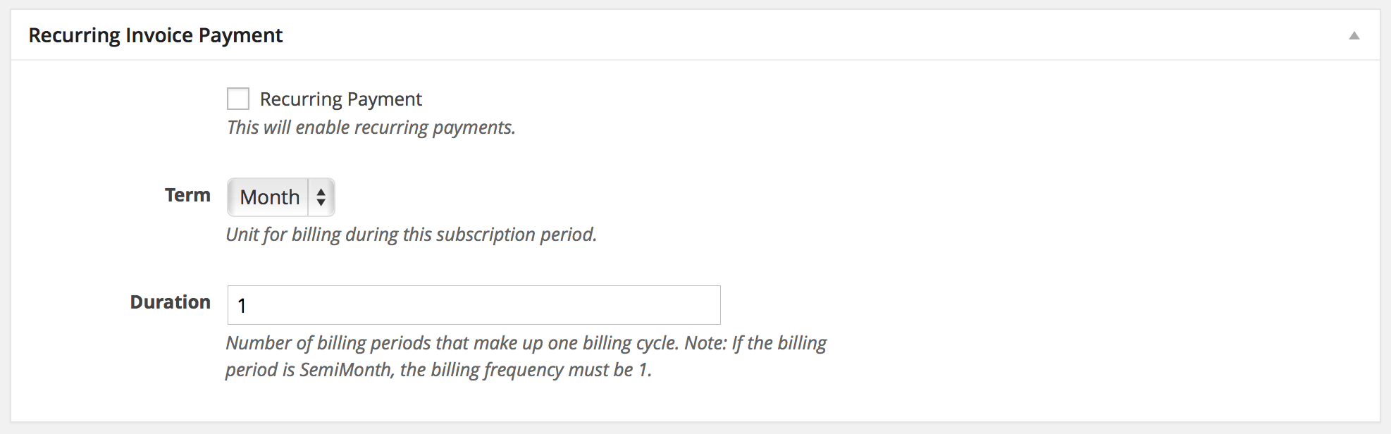 Recurring Subscription Payment Options  Payment Invoices