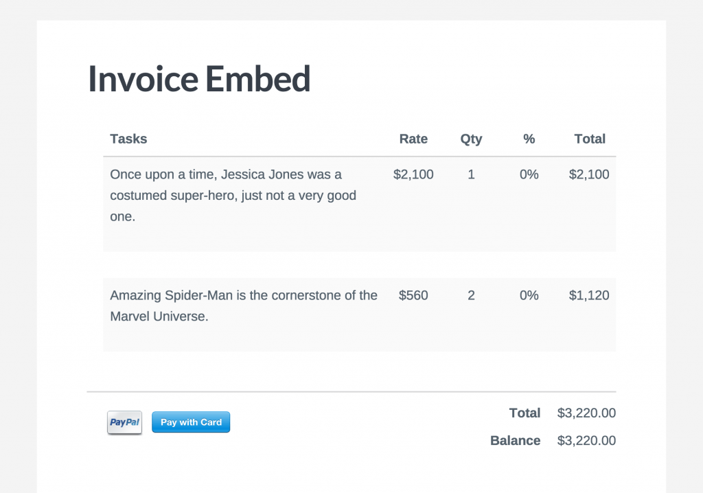Invoice Embeded into Page