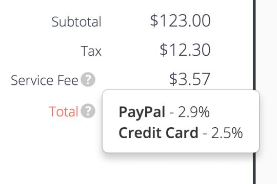 service convenince fee