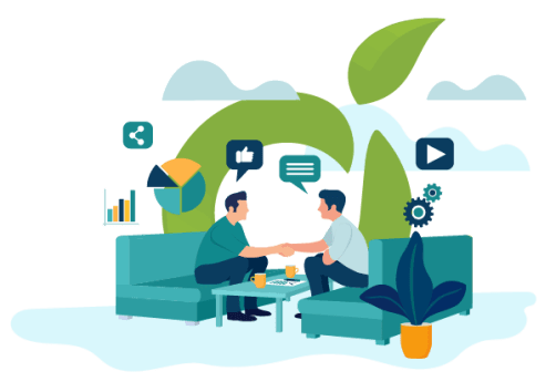 Vector image of two men shaking hands sitting in a living room couch.