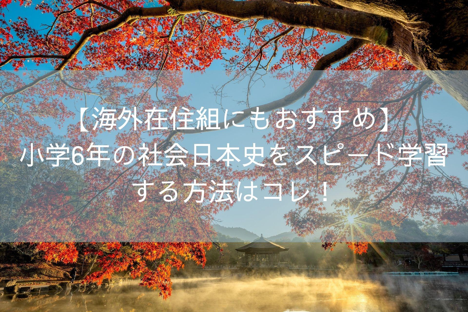 【海外在住組にもおすすめ】 小学6年の社会日本史をスピード学習 する方法はコレ!