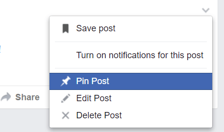 Pin Facebook Events Post