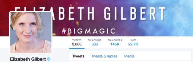 Elizabeth Gilbert twitter example