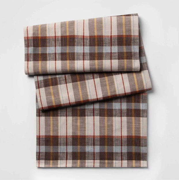 """20""""X90"""" Plaid Brown and Cream Table Runner for Fall and Thanksgiving Tablescapes"""