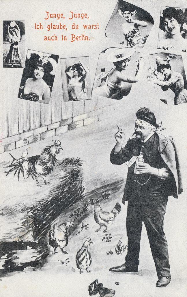Alte Postkarte mit Humor: Mann, Berlin, leichte Mädchen