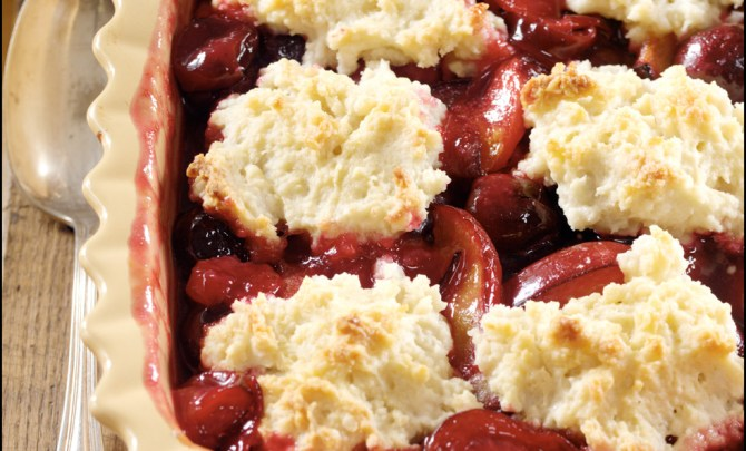 cherry plum cobbler