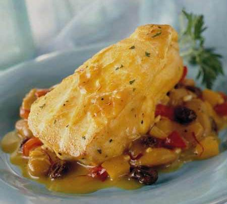 saffron-infused_sea_bass_with_california_raisins,_butter_beans_and_garlic