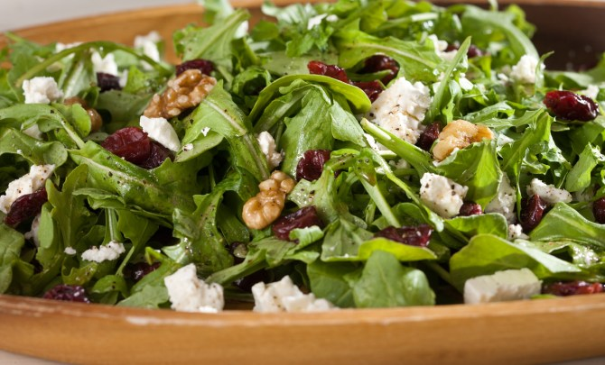 closeup_arugula_salad_with_dried_cherries