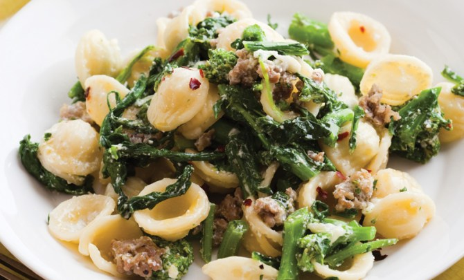 Orrechiette with Broccoli Rabe, Ricotta, and Sausage