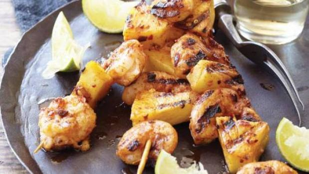 Grilled Spicy Shrimp and Pineapple Skewers