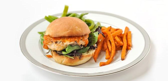 peach-bbq-chicken-burger-health-summer-grill-sandwich-cookout-spry