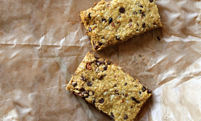 Chcolate Chip Hemp Oat Bars from the Supefood Kitchen Cookbook.