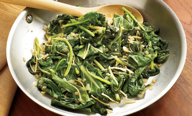 A healthy recipe for sauteed greens from Southern Living.