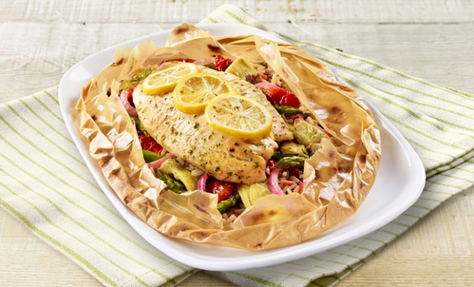 Red Lobster has added several new healthy choices to their menu including Tilapia with Roasted Vegetables.