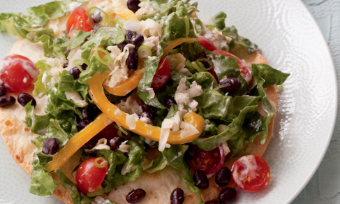 cook-without-book-meatless-monday-vegetarian-meal-health-taco-salad-black-beans-grilled-corn-spry