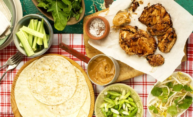 Bang Bang Chinese Chicken Wraps recipe with Peanut Sauce.