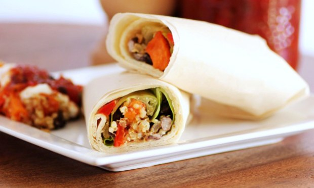 Recipe for quick and easy vegetarian Black Bean and Butternut Squash Quinoa Wraps.