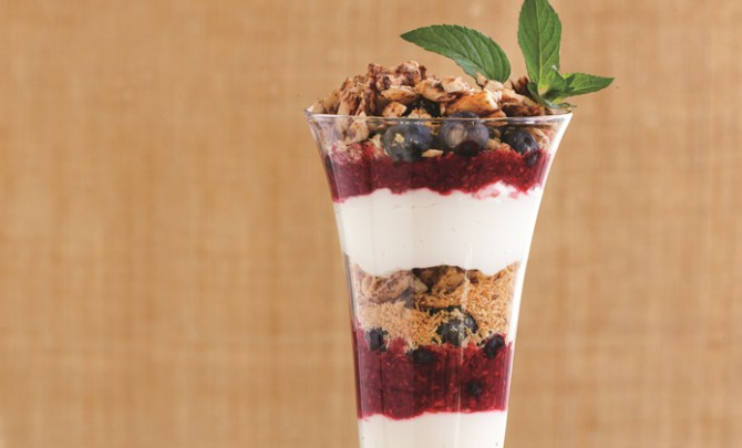 Atkins Crunchy Tropical Berry and Almond Breakfast Parfait recipe.