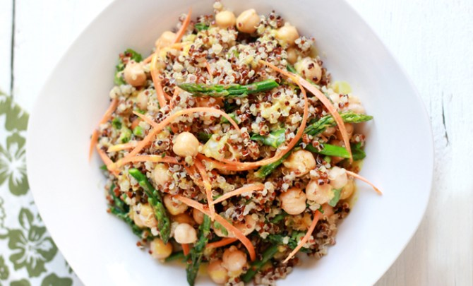 Recipe for Curried Quinoa + Asparagus Salad.