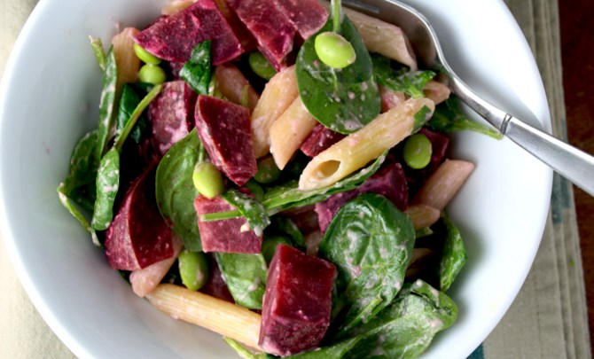 Roasted Beet and Edamame Pasta with Creamy Tahini Sauce recipe.