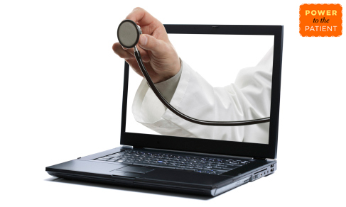 Doctors arm coming out of laptop.