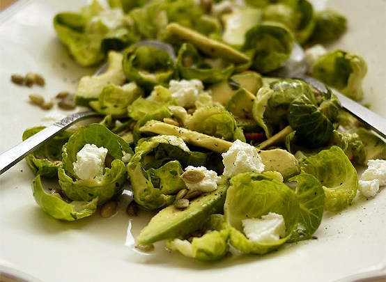Raw Brussels & Avocado Salad