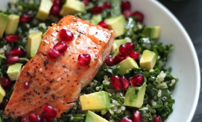 Superfood Salad with Pan Seared Salmon