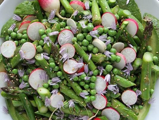 Avocado, Asparagus, Pea and Radish Sesame Salad