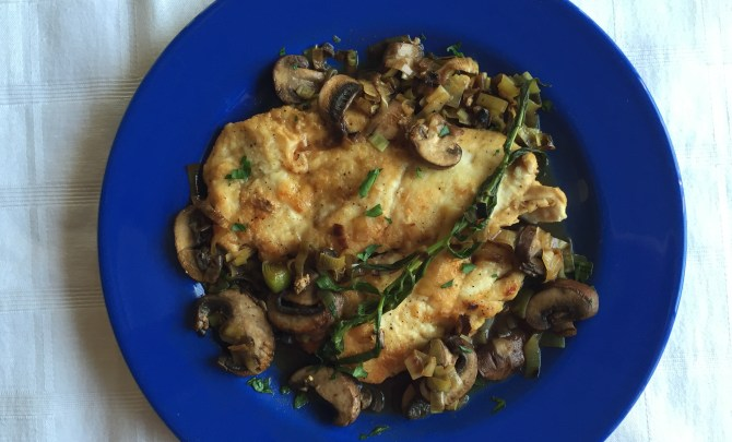 Chicken Scallopini with Baby Bellas and Tarragon