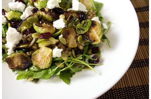 Crispy Brussels Sprouts Over Barley Salad